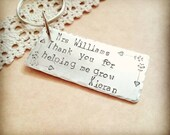 Personalised Teacher Gift , quirky and playful Handstamped teachers keyring, End Of Term Gift, Teacher appreciation gift, Teacher assistant