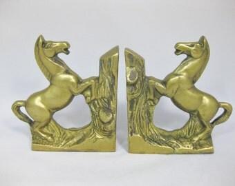 Brass Bookends, Brass Horse Bookends, Vintage Brass Bookends