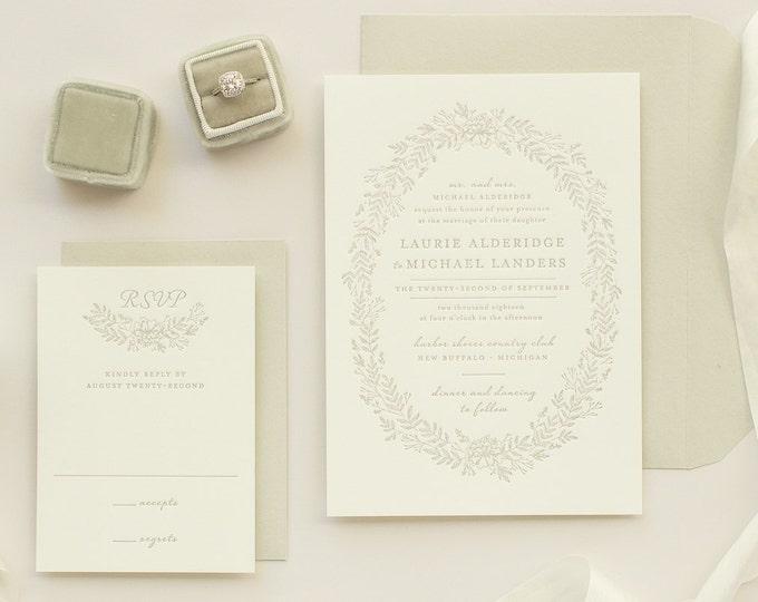 Floral Wreath Letterpress Invitations, Letter Press Wedding Invitation, Taupe Invites with Letterpress Flowers | SAMPLE | Enamored