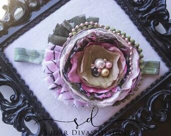 Pink Camo Headband, OTT Real Tree Headband, pink Green Camouflage headband shabby chic headbands mossy oak Camo hair accessories, dusty rose