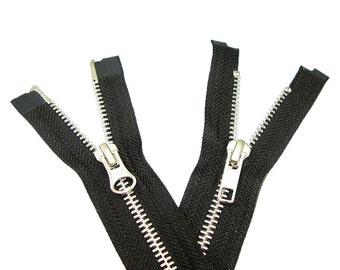 "34"" #5 YKK 2-Way Open Black Metal Zipper - Aluminum"