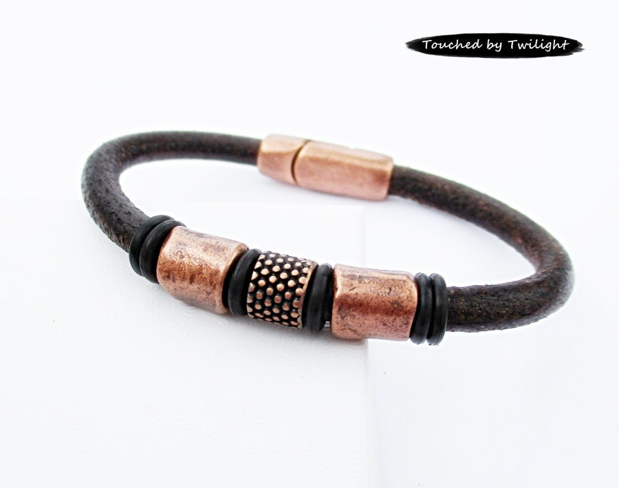 s leather bracelet distressed brown leather