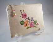 Hand Painted Linen Change Purse, Coin Purse, Cosmetic Case, Zippered Pouch