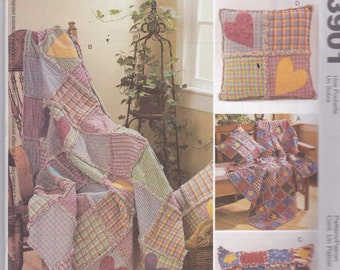 McCalls 3901 Vintage Pattern Home Decor - Rag Quilt with Matching Pillows In Variations  UNCUT