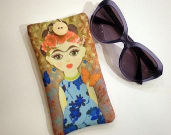 Eyeglasses case, Frida Kahlo, Soft sunglasses case, Case for sunglasses, Quilted eyeglass case