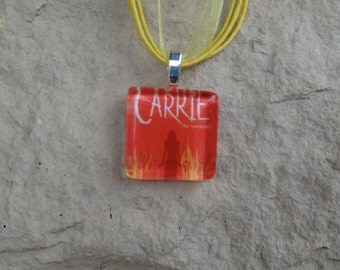 Broadway Musical Carrie Glass Pendant and Ribbon Necklace