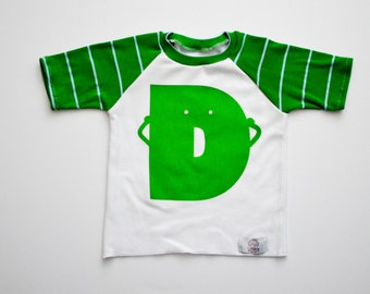 Green Alphabet Raglan | CHOOSE Your Letter A-Z