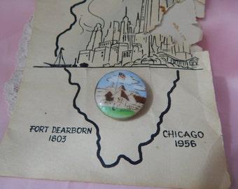 Fort Dearborn - Ceramic Studio Button by Lois Calkins