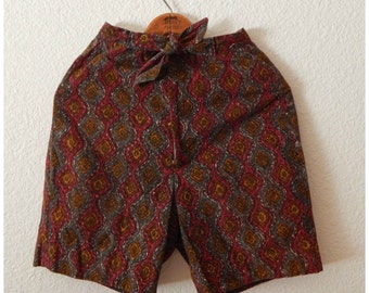 Vintage 90s Hippie Ethnic Red Print High Waist Tie Front Shorts Womens XSmall