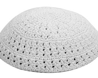 Knitted Crochet White Frik Kippah Yarmulke Yamaka 22 cm 100% Cotton