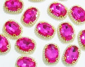 HOT PINK Oval 22x29mm Flatback Button Embellishment No Shank Flat Brooch Diy Embellishment in Claw Setting No Loop Craft Supply e4b