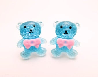 Blue Bear clip-on earrings