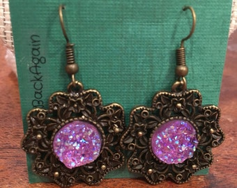 Bronze Flower Earrings with Light Pink Faux Druzy Pendants