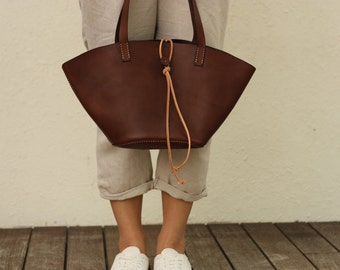 Handstitched Leather Dark Brown Tote Bag / Carry On Bag / Hand Bag