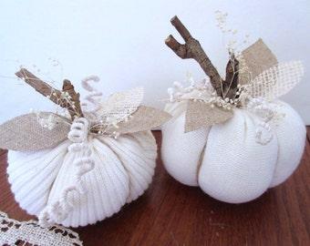 2 Sweater Pumpkins  / Fall  Decoration / Handmade / Autumn Decor / Thanksgiving Decor