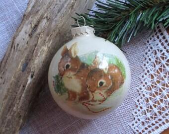 Christmas Glass Ornament   Rabbit  Ornament   Handmade   Rustic  Bauble  Animals  Decoration