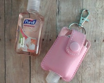 Small Hand Sanitizer Holder, Light Pink Vinyl with Snap, Great for Backpacks, Bags and Purses, Quick Ship, Choose from 25 Colors, Made in US