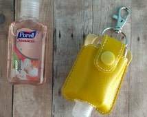 Small Hand Sanitizer Holder, Yellow Vinyl with Snap, Great for Backpacks, Bags & Purses, Quick Ship, Choose from 24 Colors, Made in USA