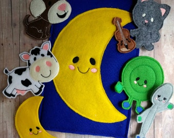 Hey Diddle Diddle Game, 8 Pieces, Embroidered Acrylic Felt, Storage Pocket, Preschool Singalong Game, Homeschool Game, Made in USA