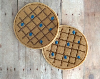 Felt Food Blueberry Waffle Play Set, 2 Pieces, Embroidered Acrylic Felt, USA Made, Play Food, Pretend Play, Breakfast Play Set,