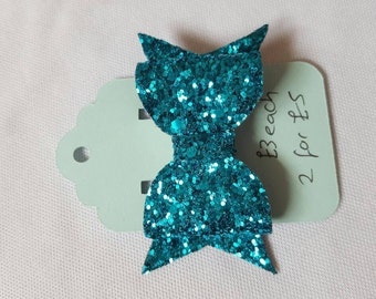 Small bright blue/turquoise  glitter fabric hair bow clip