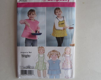 Little Girls Apron Smock Pattern Simplicity 3802 Uncut Sizes 3, 4, 5, 6, 7, 8, Uncut Little Girls Apron Pattern, Simplicity 3802 uncut