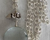 Bouquet. Big, bold locket with silver bouquet on hammered silver chain long necklace. Handmade and OOAK by ladeDAH!