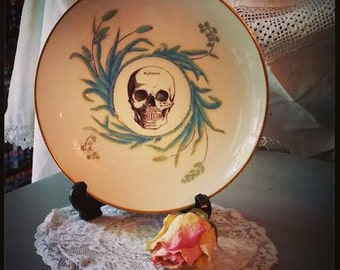 Vintage china saucer with skull design gothic