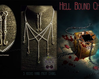 Hellraiser inspired Necklace and Earrings in 'silver'.