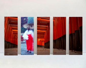 5 set on canvas size 20 x 60 cm each (overall size of set is 60cm x 100cm) of shinto shrine in Kyoto, Japan