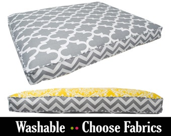 Gray Yellow Dog Bed - Your Choice of up to 4 Fabrics - Small, Medium, Large, Extra Large