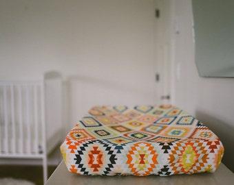 Change Pad Cover - aztec, southwestern, gender neutral, colourful, modern nursery, trendy nursery, baby room, yellow blue orange