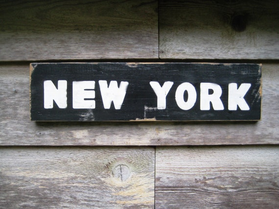 Items similar to rustic wood sign new york street sign for Reclaimed wood new york