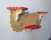Small Shelf -  Folk Shelf - Bird Shelf - Folk Art Shelf - Old Shelf - Painted Shelf