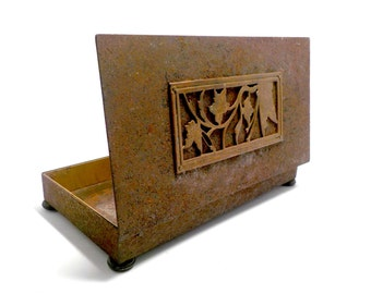 Cigarette Box by Park Sherman, Distressed Metal Cigarette Box, Storage Box, Hinged, Butterfly and Flowers, Distressed Decorative Metal Box