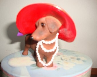 Dachshund Diva Figurine Red Hat Society REDUCED