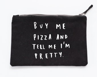 Buy Me Pizza Make Up Pouch - Canvas pouch - cosmetic pouch - pizza gift