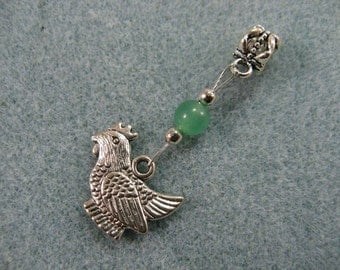 Dreadlock charm dangle with chicken and jade bead