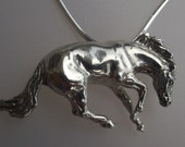 Reining horse STERLING SILVER slide pendant necklace with sterling silver chain.  Equine jewelry Equestrian art