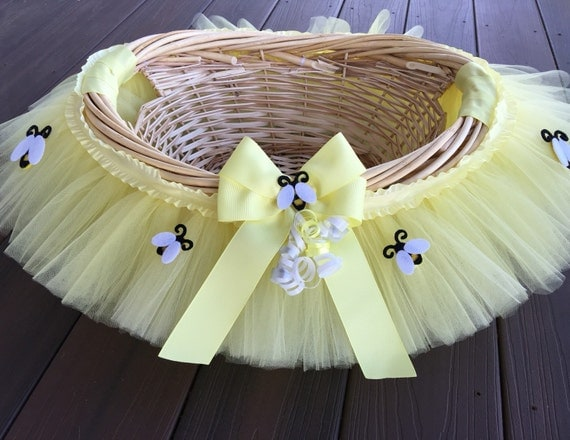 Medium Pale Yellow Bumble Bee Baby Shower Basket Tutu Gift