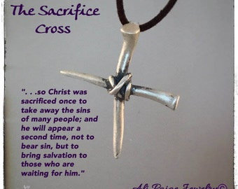 "Men's Valentine Jewelry, handmade men's sterling silver cross, christian mens gift, ""the sacrifice cross"",  alipaige jewelry"