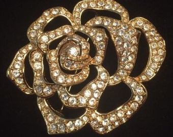 Elizabeth Taylor  Rose Brooch - Gold Plated with Crystals - S1933