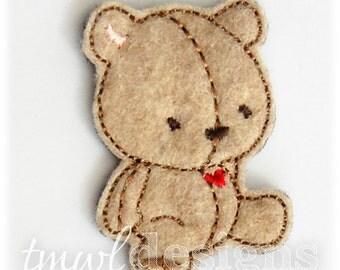 "Jamie Teddy Bear Feltie Digital Design File - 1.75"""
