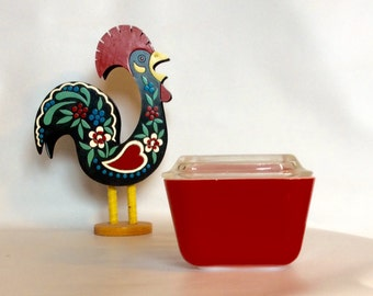 Vintage Mini Refrigerator Dish Red Primary  Colour