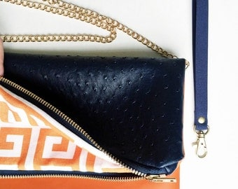 Navy and Orange Fold Over Clutch