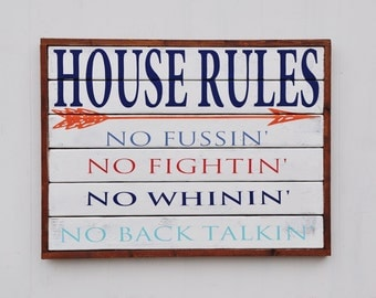 House Rules Sign, Family Rules Sign, Custom Wood Sign