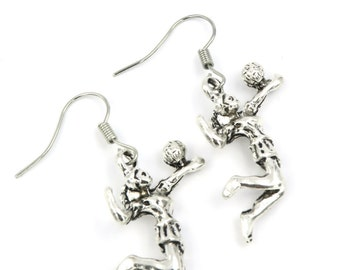 Volleyball Player earrings silver colors