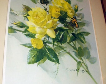 Yellow Cabbage Roses and Butterflies Vintage Floral Bouquet Still Life Picture Artist Vernon Ward Lithograph Print Yard Long Frame Decor