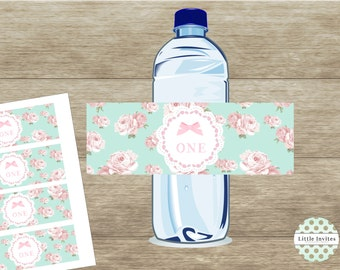 Girl first birthday/ONE/Water bottle labels/First Birthday water bottle label/shabby chic waterbottle/instant download/printable-Cassandra