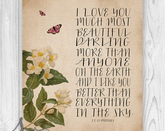 I Love You Much E.E.Cummings Poem, Typograpgy Art Print, Vintage Flowers, Butterflies, Wall Art Poster, Love Poem, Wall Art Print